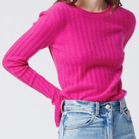 Cashmere Ribbed Sweater Fuchsia